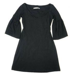 Susana Monaco Small Bell Sleeve Dress Black V Neck